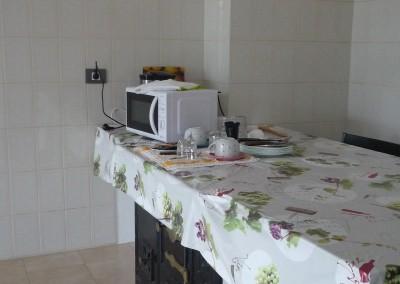 Detalle de la cocina: microondas y desayuno